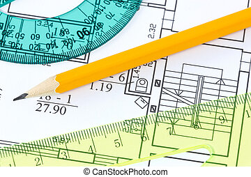 rulers and pencil on architectural  blueprint