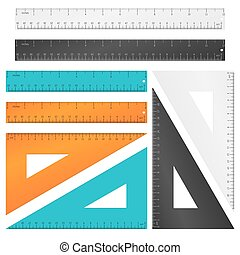 Rulers and triangle with inches, centimeters millimeters scale. Vector set