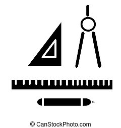 rulers dividers pen icon, vector illustration, black sign on isolated background