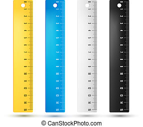 Rulers in centimeters and millimmeters. Vector illustration set.