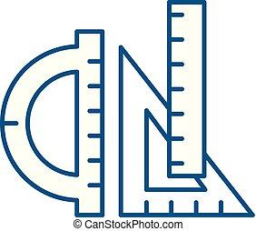 Rulers line icon concept. Rulers flat vector symbol, sign, outline illustration.