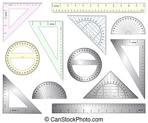 Set of rulers, set squares and protractors in plastic and metal