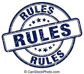 rules blue grunge round vintage rubber stamp