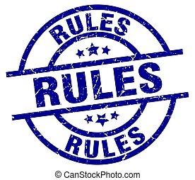 rules blue round grunge stamp