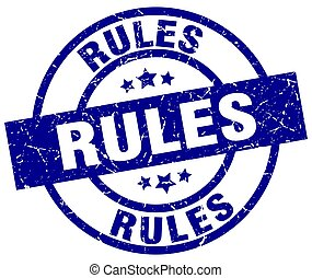 rules blue round grunge stamp