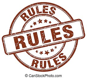 rules brown grunge round vintage rubber stamp