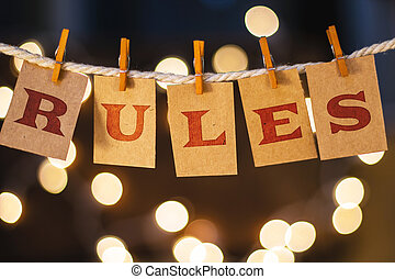 Rules Concept Clipped Cards and Lights - The word RULES...