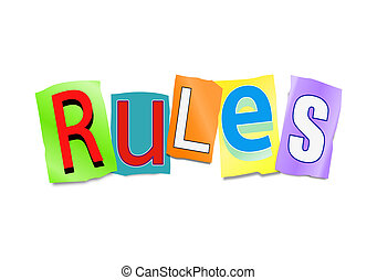Rules concept. - Illustration depicting a set of cut out...