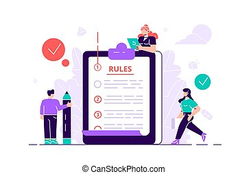 Regulations checklist persons - Rules concept. Regulations...
