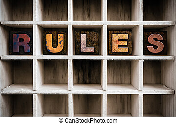 Rules Concept Wooden Letterpress Type in Drawer - The word...