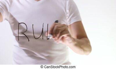 rules inscription text man businessman writes on glass -...