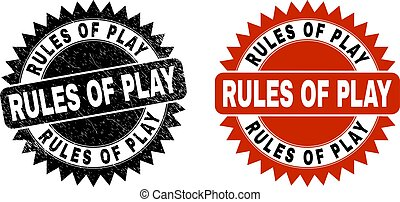 RULES OF PLAY Black Rosette Stamp with Unclean Texture