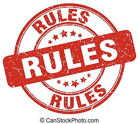 rules red grunge round vintage rubber stamp