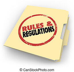 Rules Regulations Manila Folder Stamped Documents Files -...