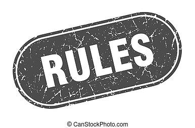 rules sign. rules grunge black stamp. Label