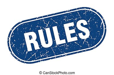 rules sign. rules grunge blue stamp. Label