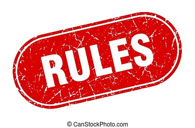 rules sign. rules grunge red stamp. Label