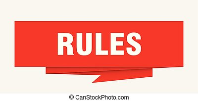 rules sign. rules paper origami speech bubble. rules tag....