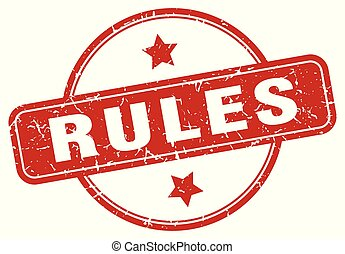 rules sign - rules vintage round isolated stamp