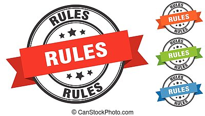 rules stamp. round band sign set. label