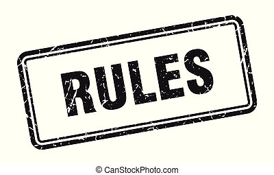 rules stamp. rules square grunge sign. rules