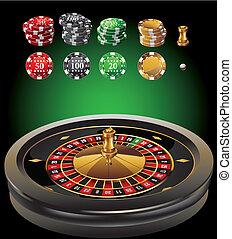 ruleta, casino, elementos