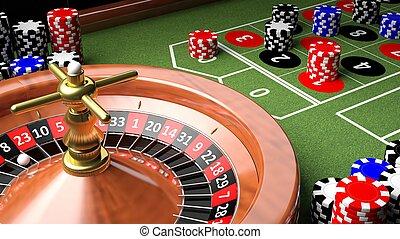 ruleta, casino, primer plano, tabla, pedacitos, 3d