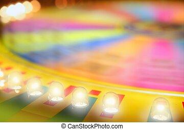 ruleta, juego, borroso, colorido, brillo