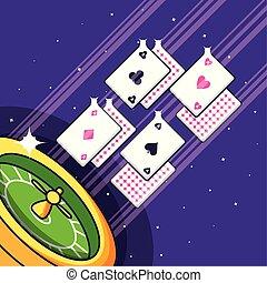 ruleta, tarjetas, póker, partido del casino