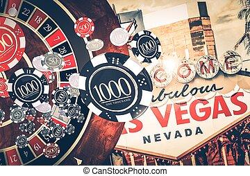 ruleta, vegas, concepto, casino