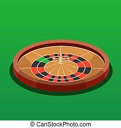 ruletka, isometric, kasyno, wektor, ilustracja