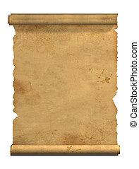 rulla, av, gammal, pergament