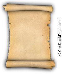 rulla, av, parchment.