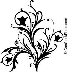 rulla, vektor, cartouche, illustration, dekor