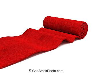 rullande, röd matta