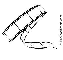 rullat, nedåt, vektor, film