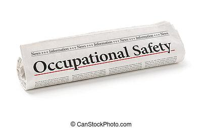 rullat, rubrik, tidning, säkerhet, sysselsättnings
