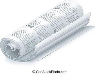 rullat, vektor, tidning