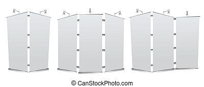 rulle, blank, banner, oppe, fremvisning