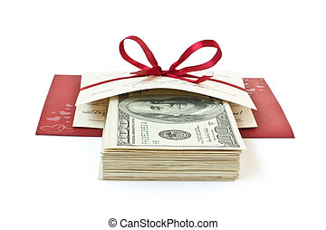 rulle, bog, röd, pengar