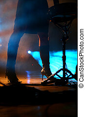 rullo tamburo, donna, palcoscenico