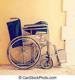 rullstol, gammal, årgång, retro designa