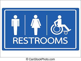 rullstol, ikon, toalett, kvinnlig, handikapp, symbol, manlig