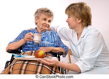 rullstol, kvinna, äldre