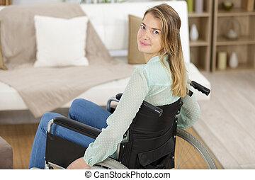 rullstol, kvinna, ung, lycklig