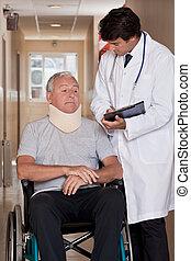 rullstol, tålmodig, läkare