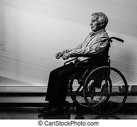 rullstol, tankfull, man, senior, hem, sjukvård
