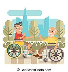 rullstol, vänner