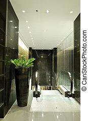 rulltrappa, hotell, pattaya, lyxvara, natt, inre, thailand, belysning
