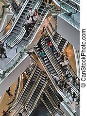 rulltrappa, insida, köpcenter